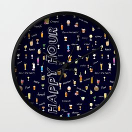 Happy Hour Cocktails and Brews on Dark Blue Wall Clock