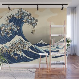 The Great Wave of Pugs Vanilla Sky Wall Mural