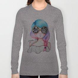Summer Vibes Colourful Hair Girl Drawing Long Sleeve T-shirt