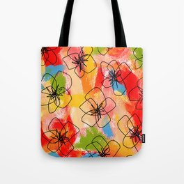 Hibiscus Family #1 - hibiscus illustration flower pattern floral painting nursery room decor Hawaii Tote Bag