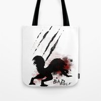 bad wolf Tote Bags featuring Bad wolf by Halopromise