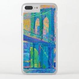 """Brooklyn Bridge"" palette knife urban city landscape painting by Adriana Dziuba Clear iPhone Case"