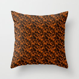 Geometric molecular design with circles and bronze rectangles from stripes. Throw Pillow