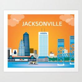 Jacksonville, Florida - Skyline Illustration by Loose Petals Art Print