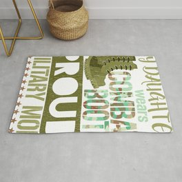 My Daughter Wears Combat Boots Proud Military Mom Rug