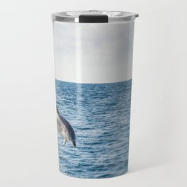 Leaping Wild Dolphin - Retro style illustration Travel Mug