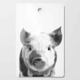 Black and white pig portrait Cutting Board