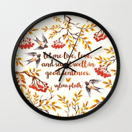 Sylvia Plath Birds Wall Clock