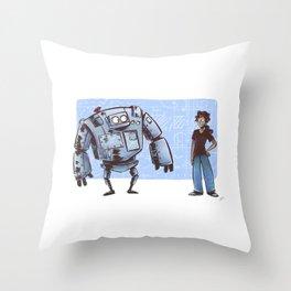 A Girl and her Robot Throw Pillow