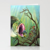 clueless Stationery Cards featuring Large Mouth Bass and Clueless Blue Gill Fish by Sonya ann