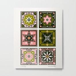Talavera Mexican Tile – Blush & Sage Palette Metal Print