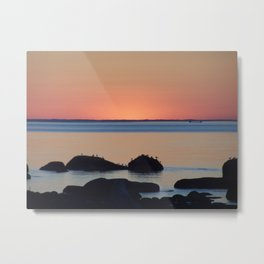 Peaceful Sunset Ship and Sea Metal Print