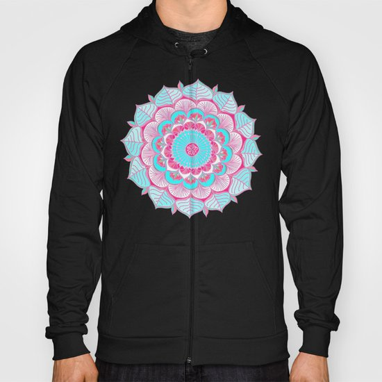 Tropical Bloom - floral doodle in pink, mint, peach, aqua, white Hoody