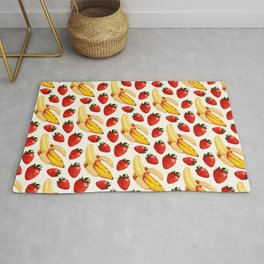 Strawberry Banana Pattern - White Rug