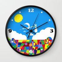nursery Wall Clocks featuring Up! Nursery Art by foreverwars