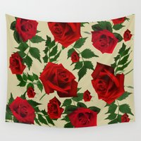 roses Wall Tapestries featuring roses  by mark ashkenazi