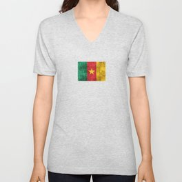 Vintage Aged and Scratched Cameroon Flag Unisex V-Neck