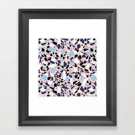 Terrazzo Spot Blues on Blush Framed Art Print