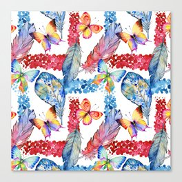 Abstract pink blue watercolor butterfly boho floral pattern Canvas Print