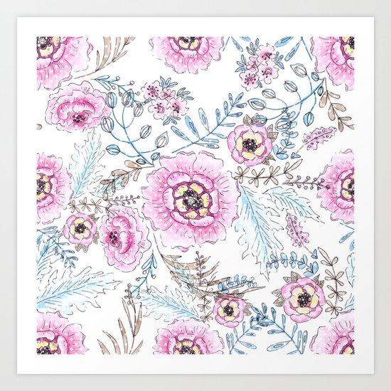 Watercolor . Pink flowers . Art Print