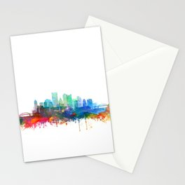 Pittsburgh Skyline Watercolor by Zouzounio Art Stationery Cards