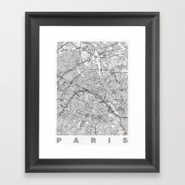 Paris Map Line Framed Art Print