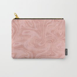 Elegant Rose Gold Pink Metallic with Marble Abstract Pattern Carry-All Pouch
