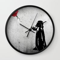 banksy Wall Clocks featuring Little Vader - Inspired by Banksy by kamonkey