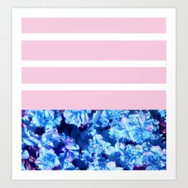 Floral Stripe Blueberry Art Print