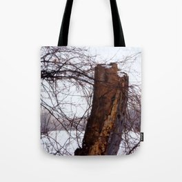 Stump in Field Tote Bag