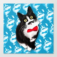 muppet Canvas Prints featuring Muppet the Moustached Cat by EggsBFF