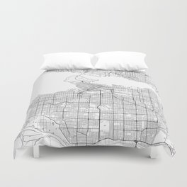 Vancouver Map White Duvet Cover