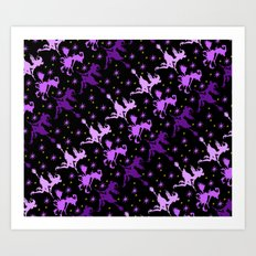 Witches Starry Night Pattern Art Print