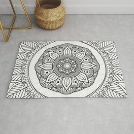 Black Mandala On White Background Rug