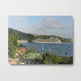 Cruise Ships in Harbor at St. Thomas Metal Print