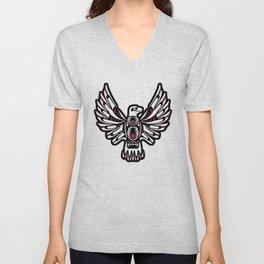 Digital Black and White Eagle Totem Design Unisex V-Neck