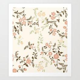 Peach Pink Floral Art Print