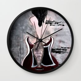 Guitar Art. Women and Guitars. Abstract. Sound Waves. Gibson Guitar. Wall Clock