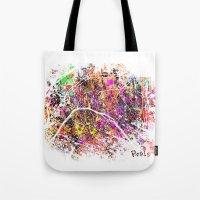paris map Tote Bags featuring Paris by Nicksman