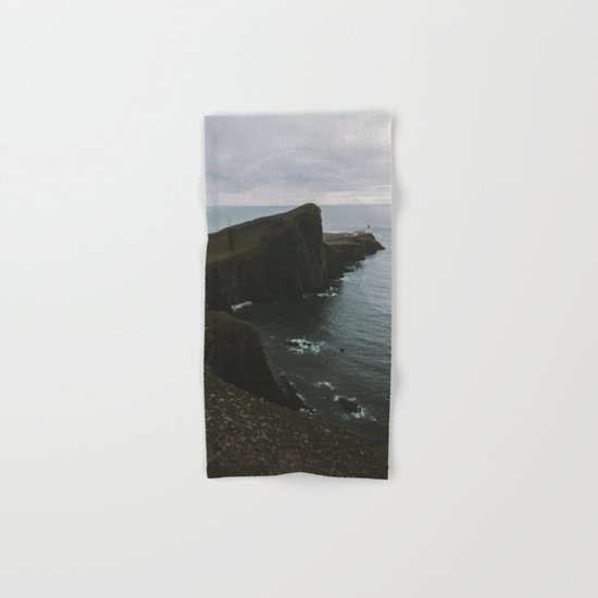 Neist Point Lighthouse at the Atlantic Ocean - Landscape Photography Hand & Bath Towel