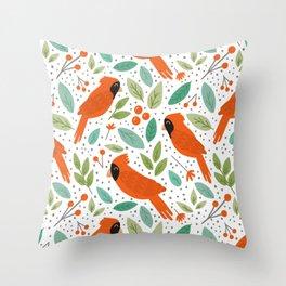Chirpy Cardinals Throw Pillow