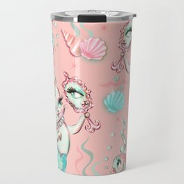 Merkittens with Pearls on blush Travel Mug