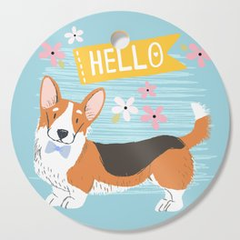 A Big Hello From A Well Dressed Corgi Cutting Board