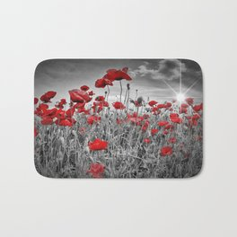 Idyllic Field of Poppies with Sun Bath Mat