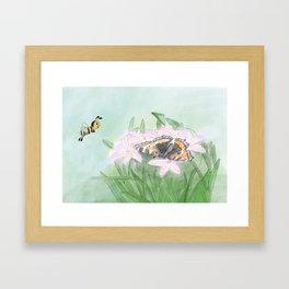 Butterfly bee flower Framed Art Print
