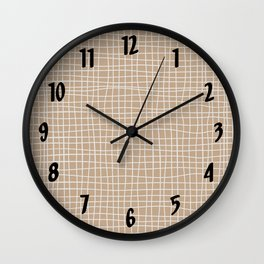 White and Brown Weave Pattern Wall Clock
