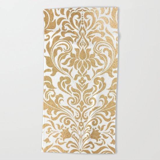 Gold foil swirls damask #12 Beach Towel