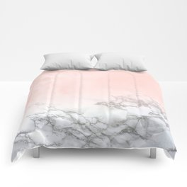 Rose Gold Pink Pastel Marble Luxe Fade II Comforters
