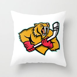 Saber Toothed Cat Ice Hockey Mascot Throw Pillow