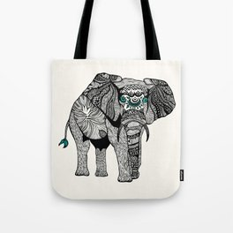 Tribal Elephant Black and White Version Tote Bag